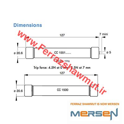 F083656 | فیوز استوانه ایmersen | فیوز قطع سریع ferraz | فیوز 20x127